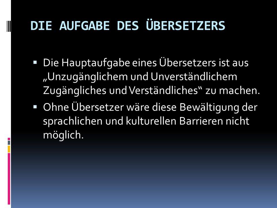 """DIE AUFGABE DES ÜBERSETZERS  Die Hauptaufgabe eines Übersetzers ist aus """"Unzugänglichem und Unverständlichem Zugängliches und Verständliches"""" zu mach"""