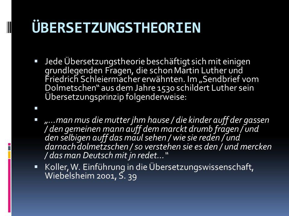 ÜBERSETZUNGSTHEORIEN  Jede Übersetzungstheorie beschäftigt sich mit einigen grundlegenden Fragen, die schon Martin Luther und Friedrich Schleiermache