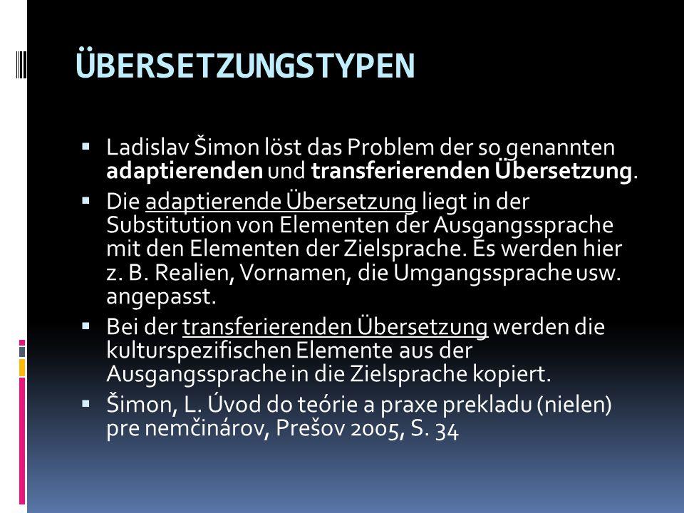 ÜBERSETZUNGSTYPEN  Ladislav Šimon löst das Problem der so genannten adaptierenden und transferierenden Übersetzung.  Die adaptierende Übersetzung li