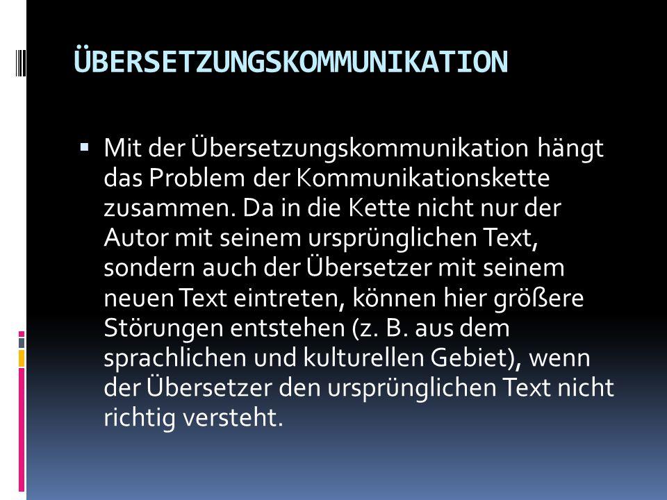  Mit der Übersetzungskommunikation hängt das Problem der Kommunikationskette zusammen. Da in die Kette nicht nur der Autor mit seinem ursprünglichen