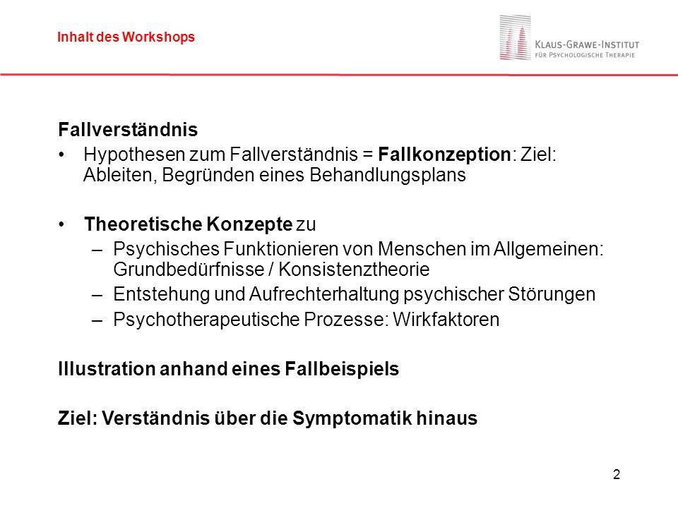 2 Inhalt des Workshops Fallverständnis Hypothesen zum Fallverständnis = Fallkonzeption: Ziel: Ableiten, Begründen eines Behandlungsplans Theoretische