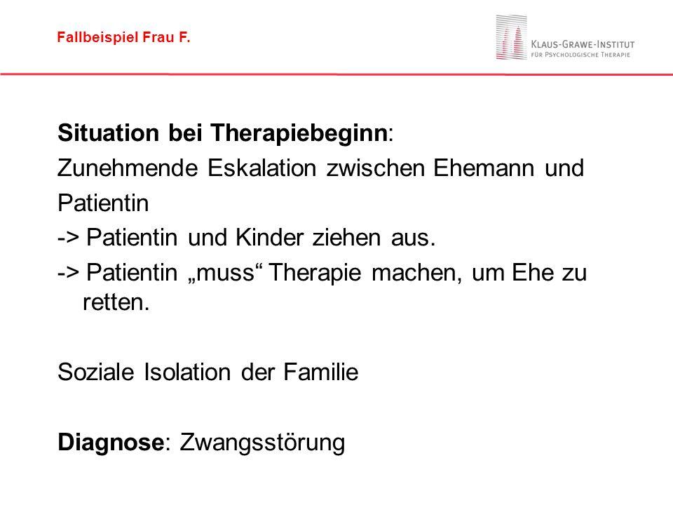 """Situation bei Therapiebeginn: Zunehmende Eskalation zwischen Ehemann und Patientin -> Patientin und Kinder ziehen aus. -> Patientin """"muss"""" Therapie ma"""