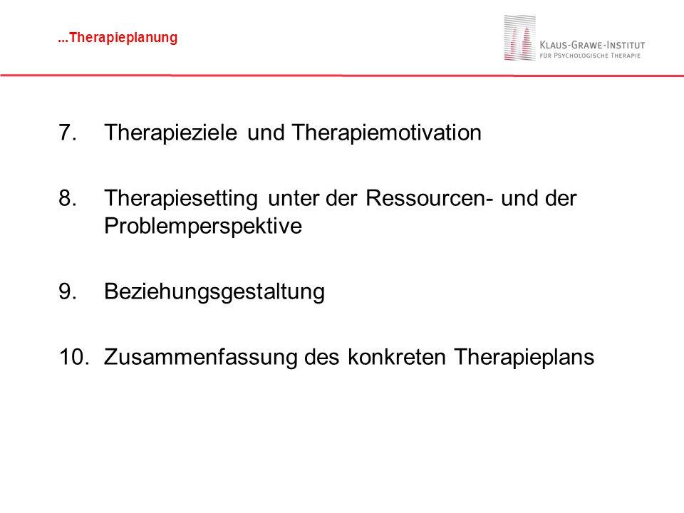 Störungsperspektive Motivationale Perspektive: –Für was ist der Patient selbst motiviert) (Leidensdruck, Therapieziele, Einstellung zu möglichen Vorgehensweisen).