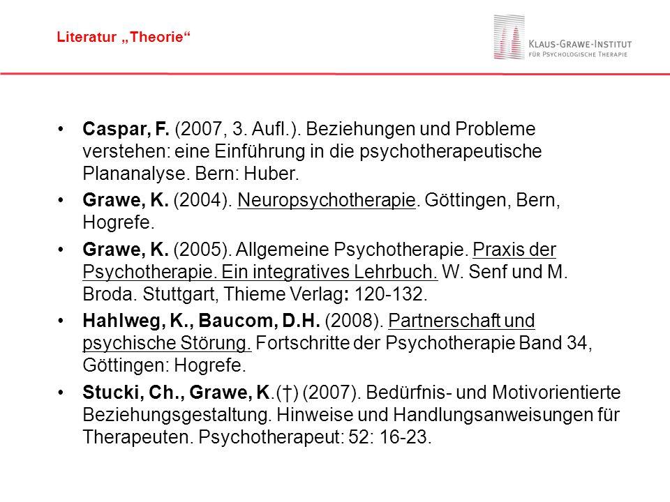 Caspar, F. (2007, 3. Aufl.). Beziehungen und Probleme verstehen: eine Einführung in die psychotherapeutische Plananalyse. Bern: Huber. Grawe, K. (2004