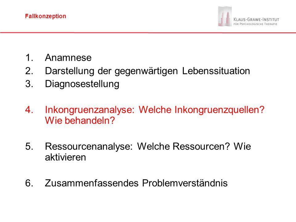 1.Anamnese 2.Darstellung der gegenwärtigen Lebenssituation 3.Diagnosestellung 4.Inkongruenzanalyse: Welche Inkongruenzquellen.