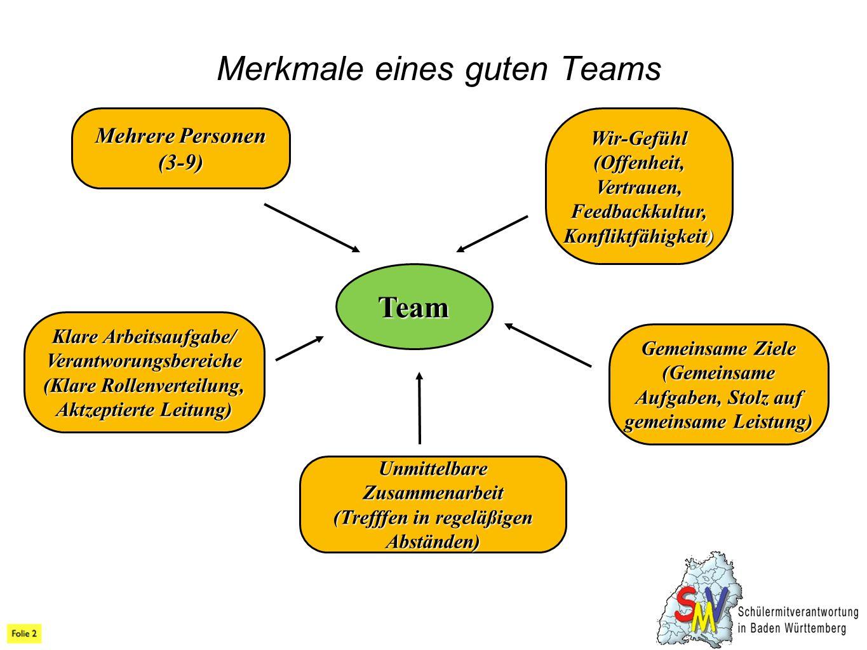 Merkmale eines guten Teams Team Mehrere Personen (3-9) Klare Arbeitsaufgabe/ Verantworungsbereiche (Klare Rollenverteilung, Aktzeptierte Leitung) Gemeinsame Ziele (Gemeinsame Aufgaben, Stolz auf gemeinsame Leistung) Wir-Gefühl (Offenheit, Vertrauen, Feedbackkultur, Konfliktfähigkeit) Unmittelbare Zusammenarbeit (Trefffen in regeläßigen Abständen)