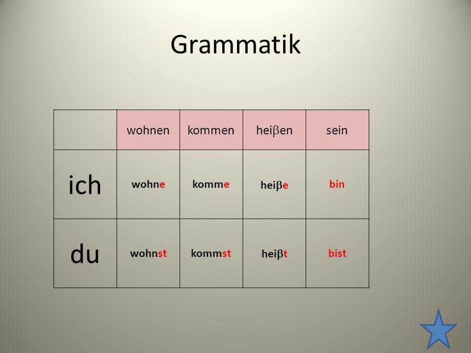 Grammatik wohnenkommen hei  en sein ich wohnekomme hei  e bin du wohnstkommst hei  t bist