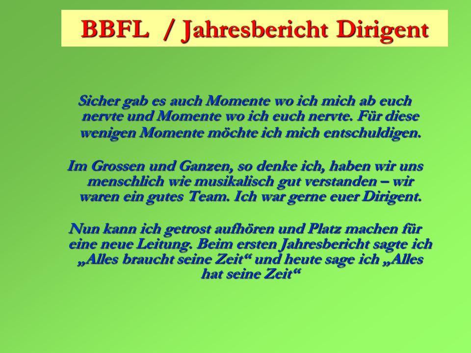 BBFL / Jahresbericht Dirigent Sicher gab es auch Momente wo ich mich ab euch nervte und Momente wo ich euch nervte.