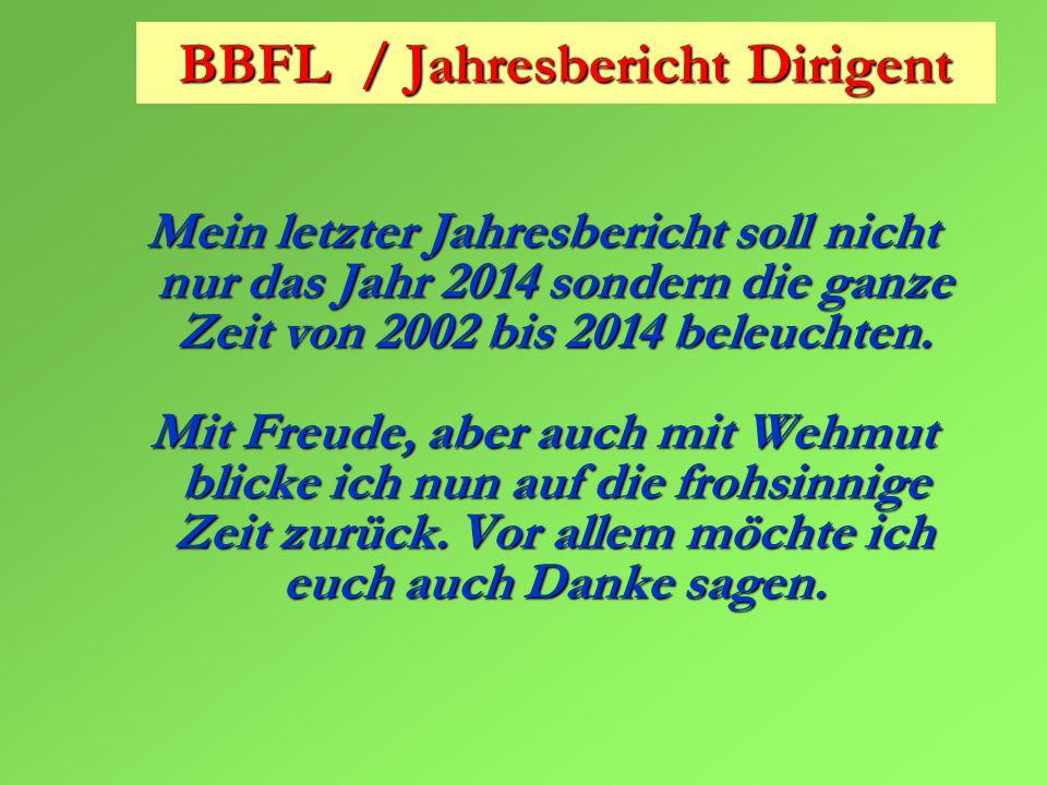 BBFL / Jahresbericht Dirigent Mein letzter Jahresbericht soll nicht nur das Jahr 2014 sondern die ganze Zeit von 2002 bis 2014 beleuchten.