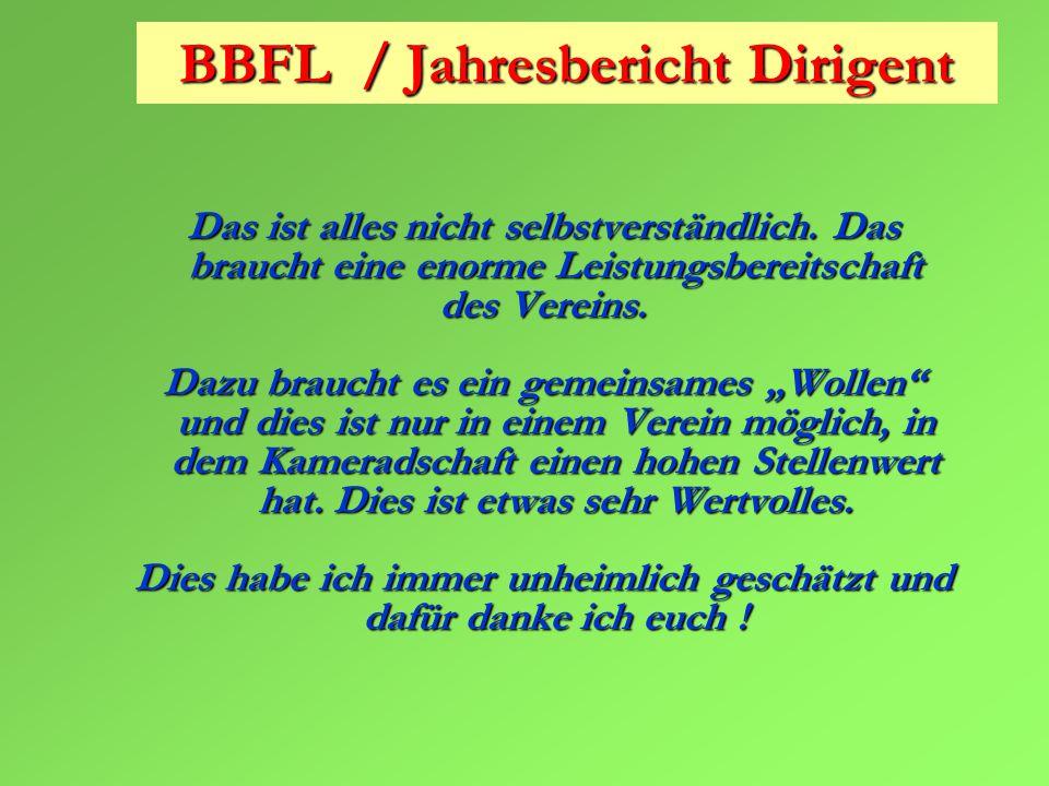BBFL / Jahresbericht Dirigent Das ist alles nicht selbstverständlich.