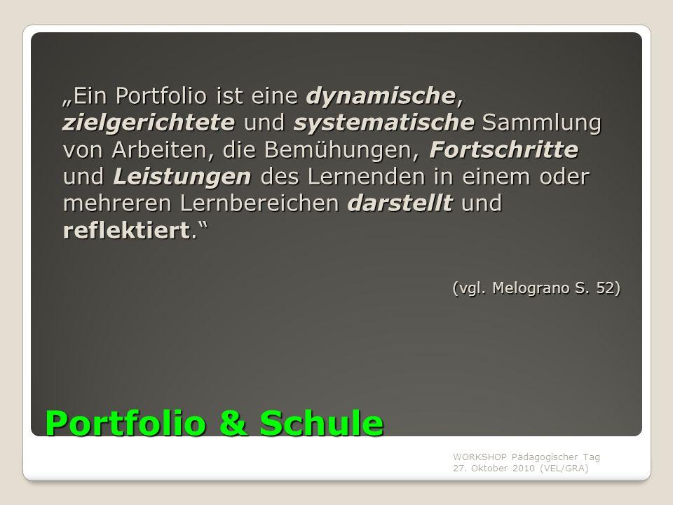 """WORKSHOP Pädagogischer Tag 27. Oktober 2010 (VEL/GRA) Portfolio & Schule """"Ein Portfolio ist eine dynamische, zielgerichtete und systematische Sammlung"""