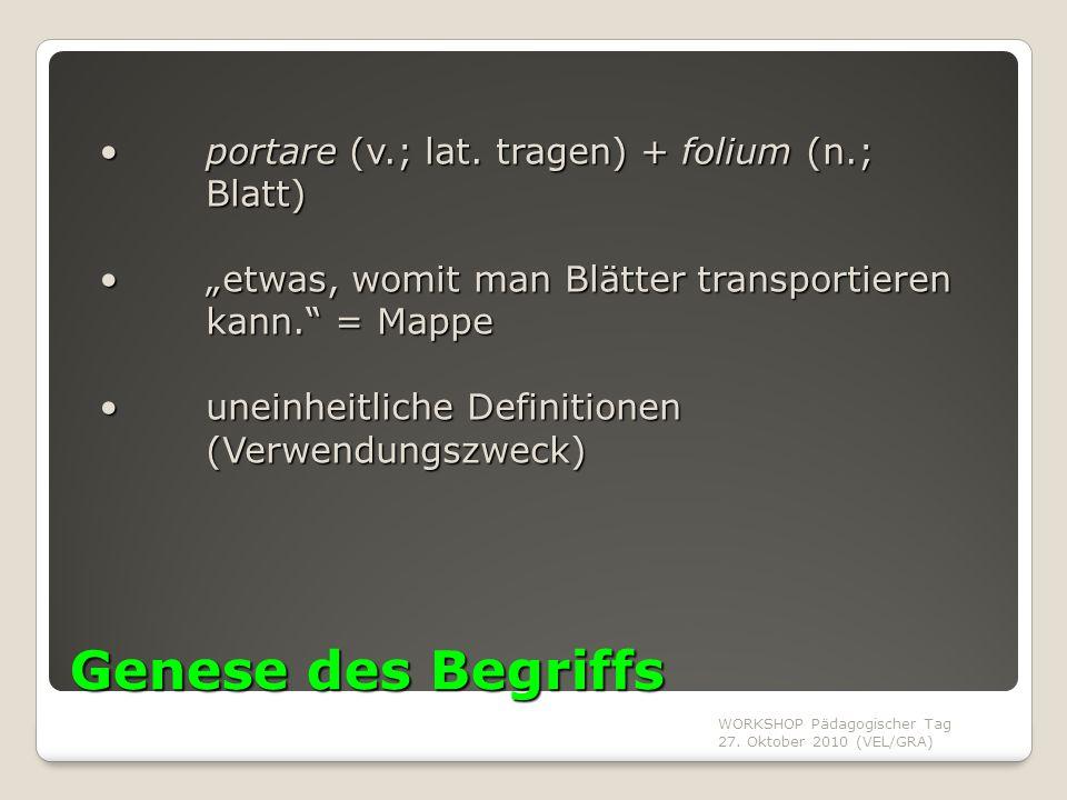WORKSHOP Pädagogischer Tag 27. Oktober 2010 (VEL/GRA) Genese des Begriffs portare (v.; lat. tragen) + folium (n.; Blatt) portare (v.; lat. tragen) + f