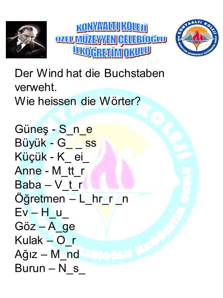 Der Wind hat die Buchstaben verweht. Wie heissen die Wörter? Güneş - S_n_e Büyük - G_ _ ss Küçük - K_ ei_ Anne - M_tt_r Baba – V_t_r Öğretmen – L_hr_r