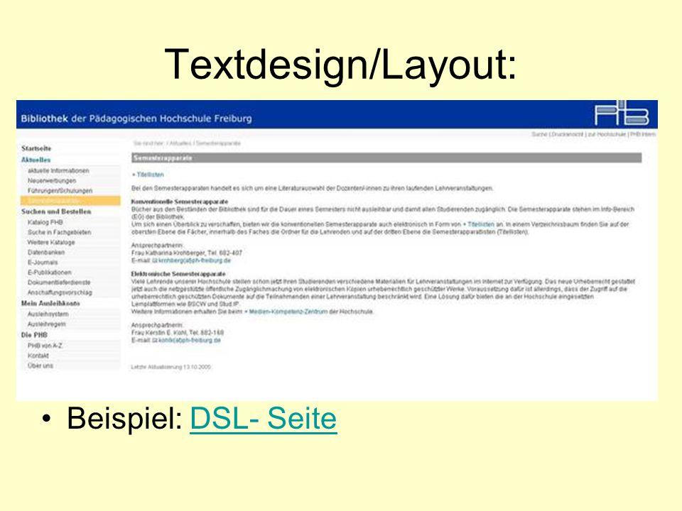 Textdesign/Layout: Beispiel: DSL- SeiteDSL- Seite