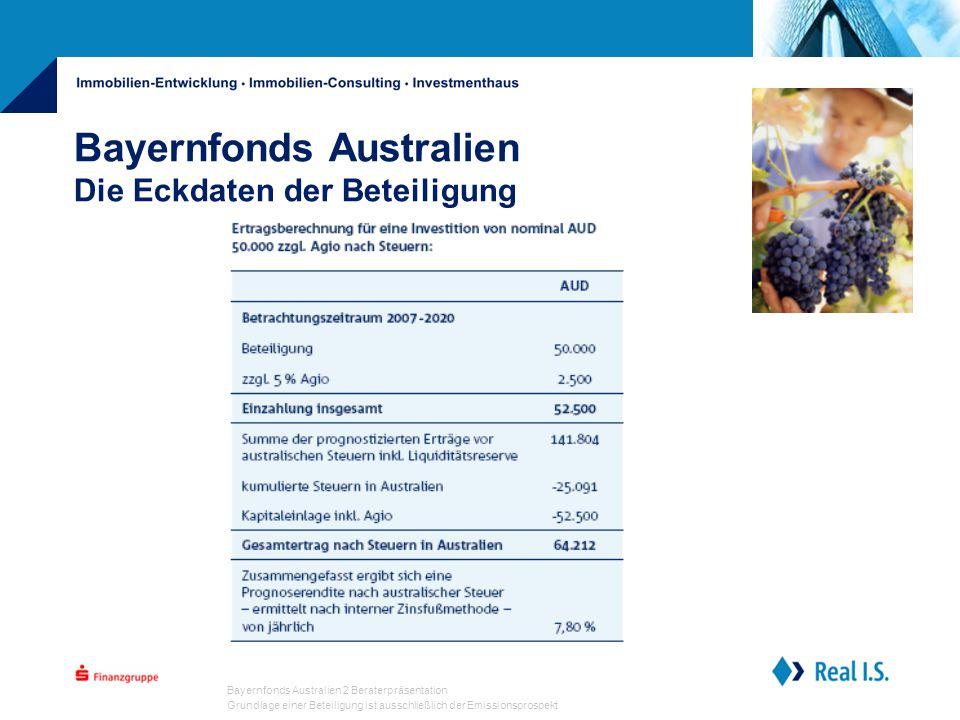 Bayernfonds Australien 2 Beraterpräsentation Grundlage einer Beteiligung ist ausschließlich der Emissionsprospekt Bayernfonds Australien Die Eckdaten der Beteiligung