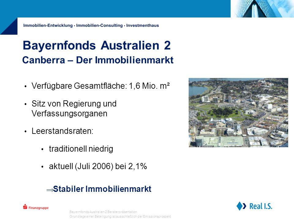Bayernfonds Australien 2 Beraterpräsentation Grundlage einer Beteiligung ist ausschließlich der Emissionsprospekt Bayernfonds Australien 2 Canberra – Der Immobilienmarkt  Stabiler Immobilienmarkt Verfügbare Gesamtfläche: 1,6 Mio.