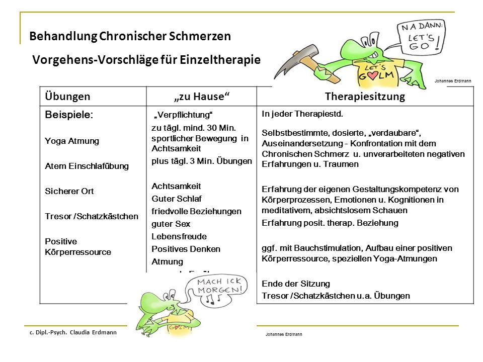 """Behandlung Chronischer Schmerzen Vorgehens-Vorschläge für Einzeltherapie c. Dipl.-Psych. Claudia Erdmann Übungen""""zu Hause""""Therapiesitzung Beispiele: Y"""