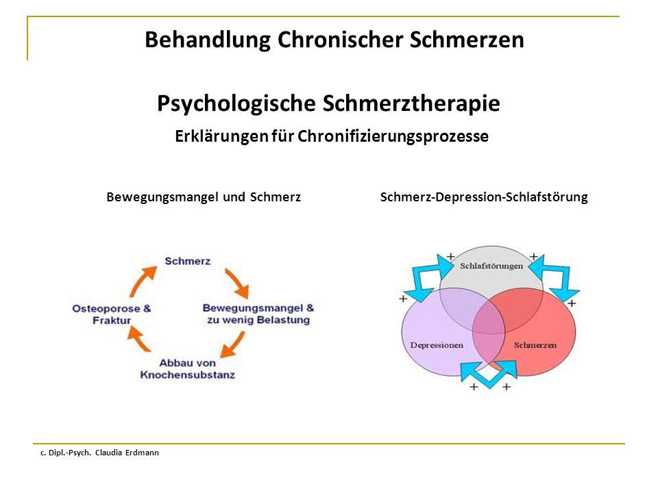 Behandlung Chronischer Schmerzen Psychologische Schmerztherapie Erklärungen für Chronifizierungsprozesse c. Dipl.-Psych. Claudia Erdmann Bewegungsmang