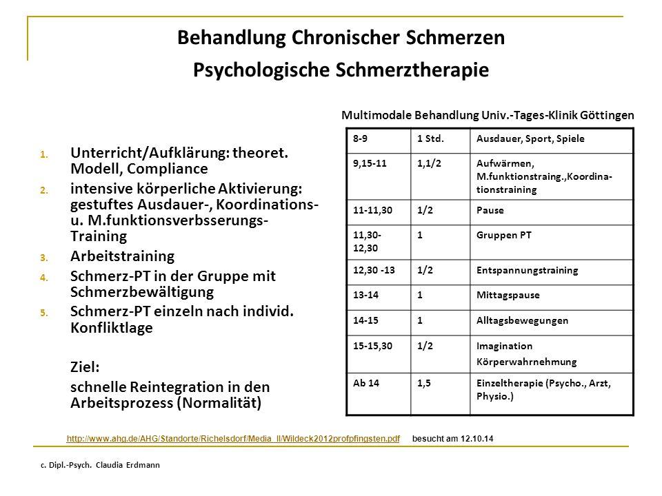 Behandlung Chronischer Schmerzen Psychologische Schmerztherapie 1. Unterricht/Aufklärung: theoret. Modell, Compliance 2. intensive körperliche Aktivie