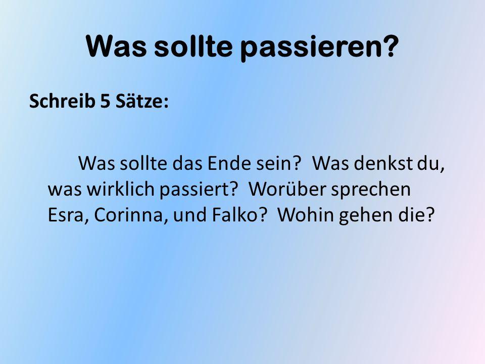 Was sollte passieren? Schreib 5 Sätze: Was sollte das Ende sein? Was denkst du, was wirklich passiert? Worüber sprechen Esra, Corinna, und Falko? Wohi