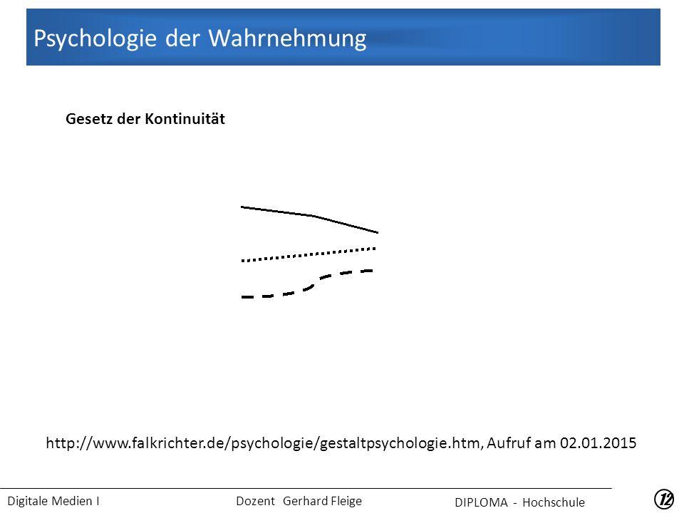 Digitale Medien I Dozent Gerhard Fleige 12 Gesetz der Kontinuität Psychologie der Wahrnehmung DIPLOMA - Hochschule http://www.falkrichter.de/psychologie/gestaltpsychologie.htm, Aufruf am 02.01.2015