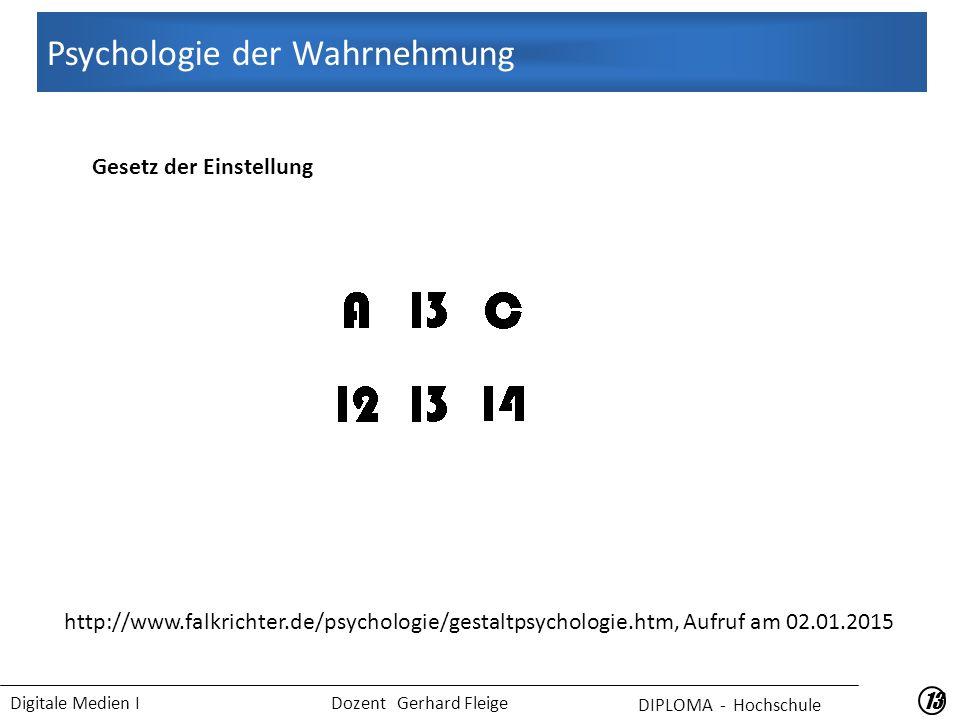 Digitale Medien I Dozent Gerhard Fleige 13 Gesetz der Einstellung Psychologie der Wahrnehmung DIPLOMA - Hochschule http://www.falkrichter.de/psychologie/gestaltpsychologie.htm, Aufruf am 02.01.2015