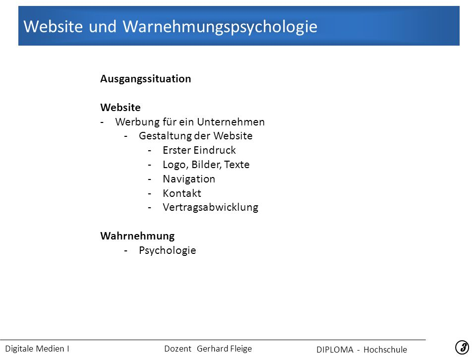 Digitale Medien I Dozent Gerhard Fleige 44 2.
