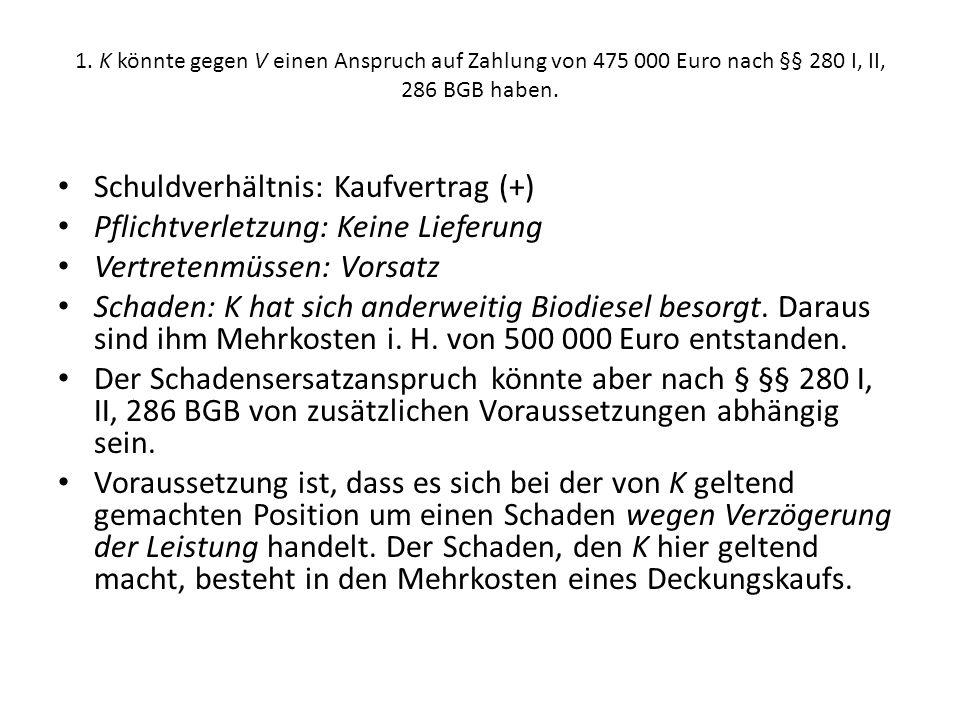 1.K könnte gegen V einen Anspruch auf Zahlung von 475 000 Euro nach §§ 280 I, II, 286 BGB haben.