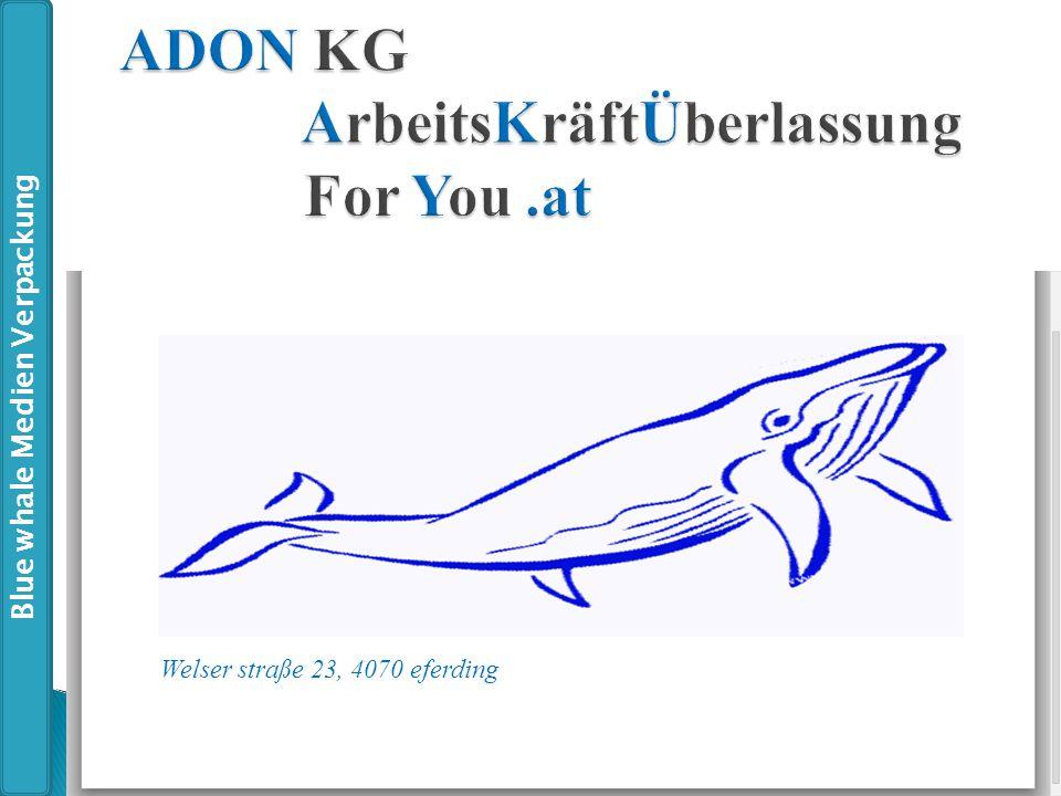 Welser straße 23, 4070 eferding Blue whale Medien Verpackung