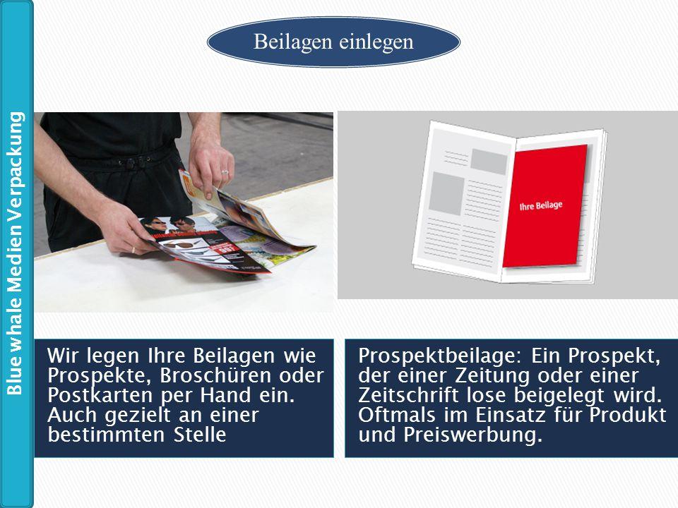 Wir legen Ihre Beilagen wie Prospekte, Broschüren oder Postkarten per Hand ein. Auch gezielt an einer bestimmten Stelle Prospektbeilage: Ein Prospekt,