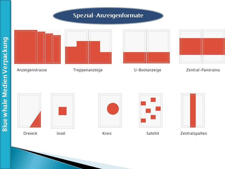 Spezial-Anzeigenformate DreieckInselKreisSatellit Zentralspalten Anzeigenstrasse Treppenanzeige U-Bootanzeige Zentral-Panorama Blue whale Medien Verpa