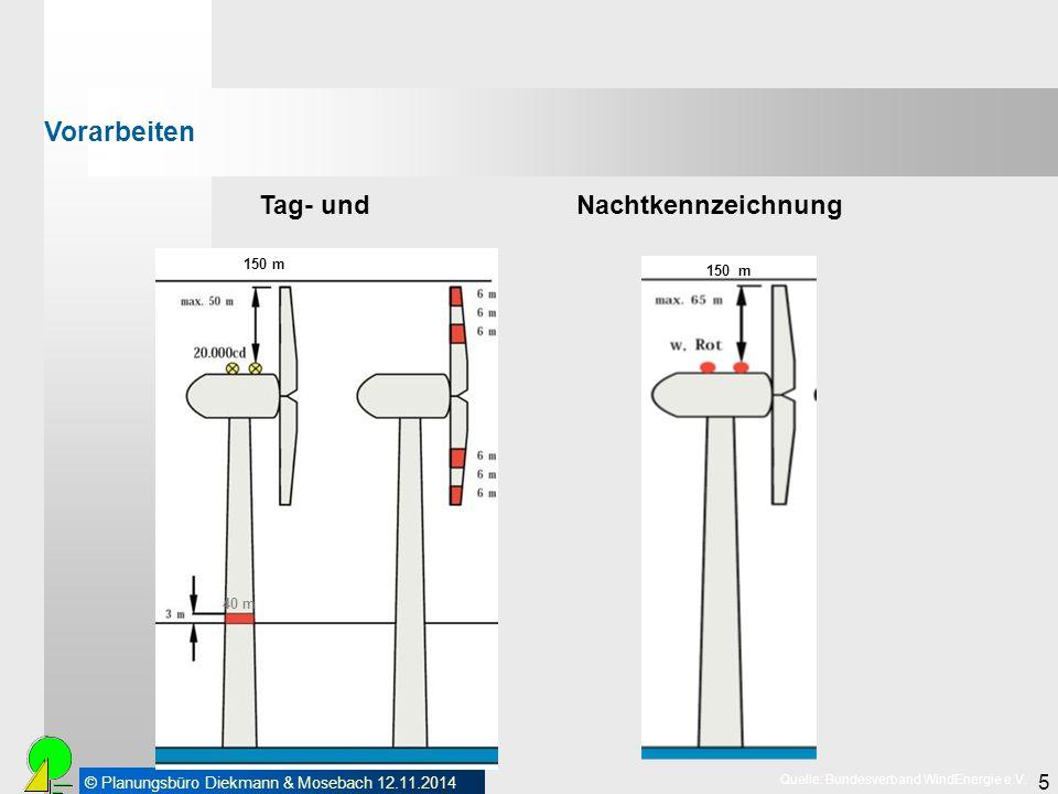© Planungsbüro Diekmann & Mosebach 12.11.2014 5 40 m 150 m Quelle: Bundesverband WindEnergie e.V. 150 m Tag- und Nachtkennzeichnung Vorarbeiten