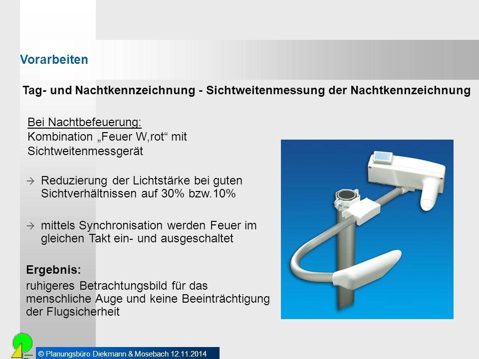 """© Planungsbüro Diekmann & Mosebach 12.11.2014 Bei Nachtbefeuerung: Kombination """"Feuer W,rot"""" mit Sichtweitenmessgerät  Reduzierung der Lichtstärke be"""