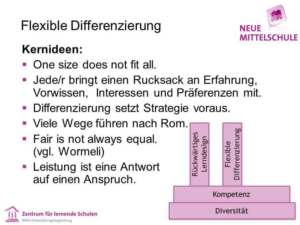 Flexible Differenzierung Kernideen:  One size does not fit all.  Jede/r bringt einen Rucksack an Erfahrung, Vorwissen, Interessen und Präferenzen mi