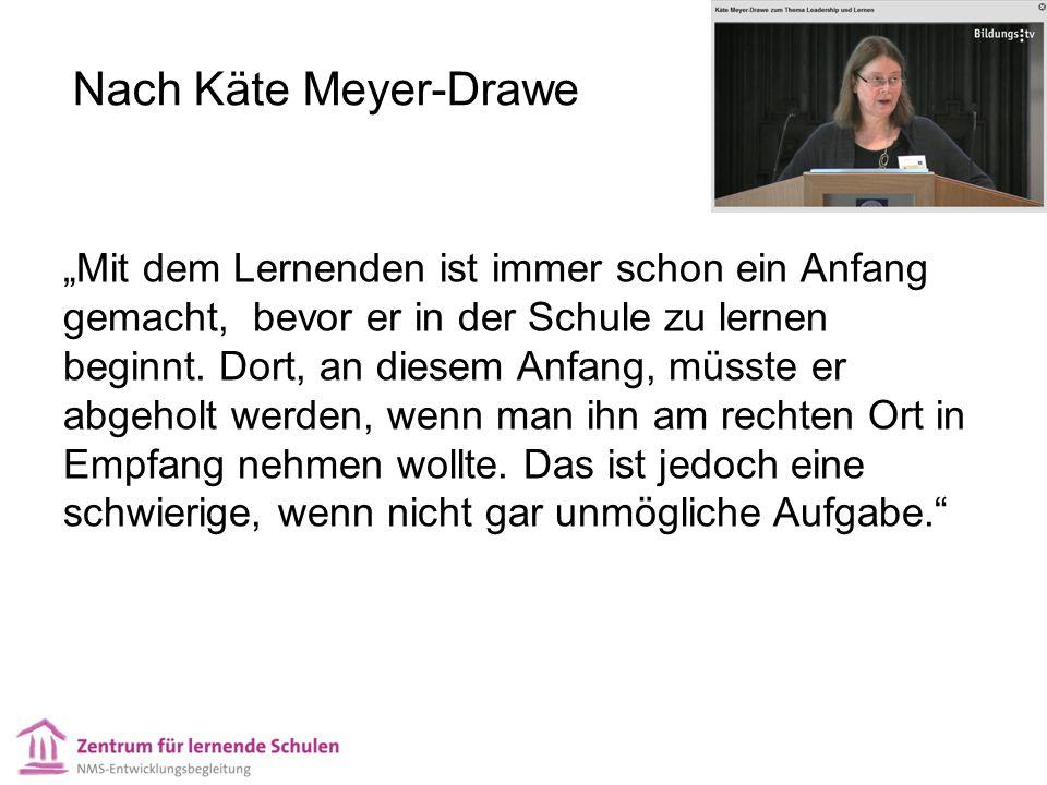 """Nach Käte Meyer-Drawe """"Mit dem Lernenden ist immer schon ein Anfang gemacht, bevor er in der Schule zu lernen beginnt. Dort, an diesem Anfang, müsste"""