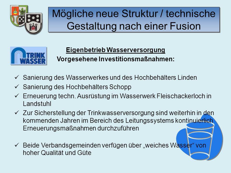 Mögliche neue Struktur / technische Gestaltung nach einer Fusion Eigenbetrieb Wasserversorgung Vorgesehene Investitionsmaßnahmen: Sanierung des Wasser