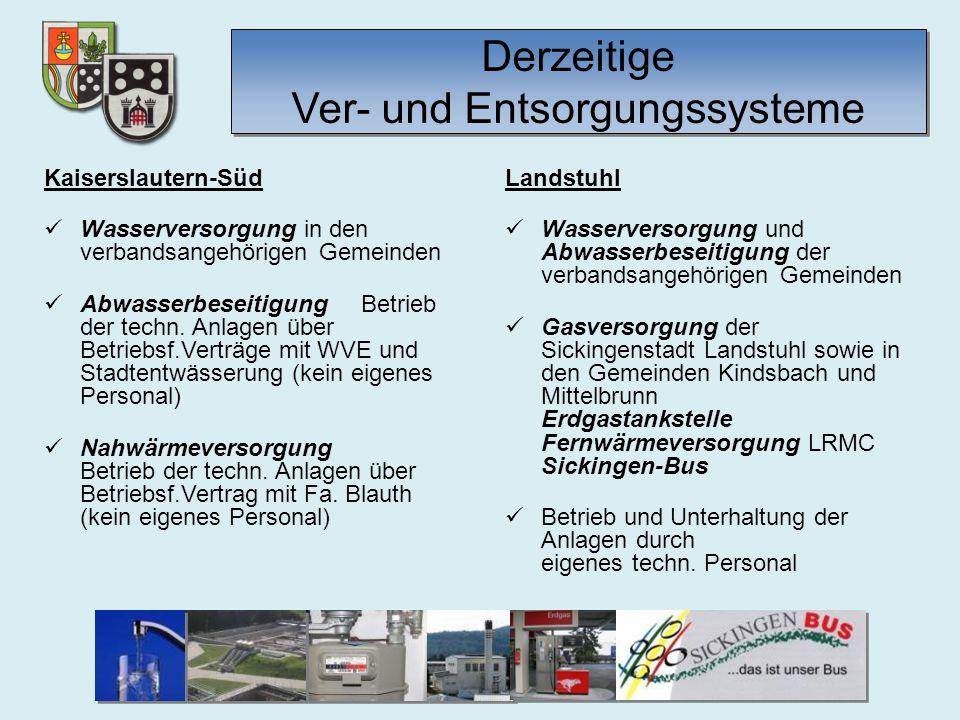 Derzeitige Ver- und Entsorgungssysteme Verbandsgemeindewerke Kaiserslautern-Süd Eigenbetrieb Wasserwerk 4 Wasserwerke Trippstadt Schopp Linden Queidersbach Jährlich Wassermenge: 525.000 m³ Eigenbetrieb Kanalwerk 1 Kläranlage (Trippstadt) div.