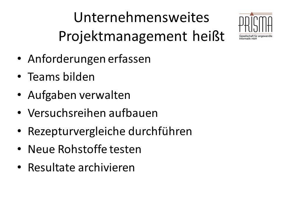 Unternehmensweites Projektmanagement heißt Anforderungen erfassen Teams bilden Aufgaben verwalten Versuchsreihen aufbauen Rezepturvergleiche durchführen Neue Rohstoffe testen Resultate archivieren