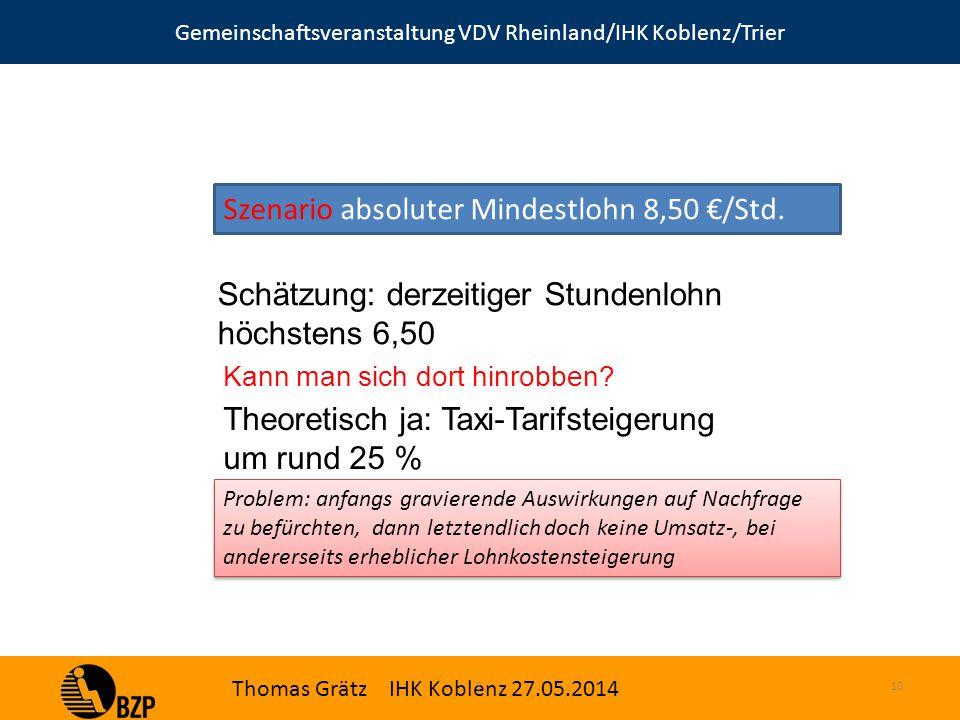 Gemeinschaftsveranstaltung VDV Rheinland/IHK Koblenz/Trier Thomas Grätz IHK Koblenz 27.05.2014 S.10 Szenario absoluter Mindestlohn 8,50 €/Std.