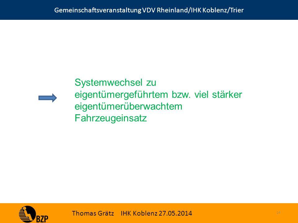 Gemeinschaftsveranstaltung VDV Rheinland/IHK Koblenz/Trier Thomas Grätz IHK Koblenz 27.05.2014 S.14 Systemwechsel zu eigentümergeführtem bzw.