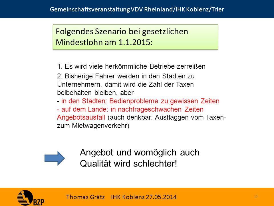 Gemeinschaftsveranstaltung VDV Rheinland/IHK Koblenz/Trier Thomas Grätz IHK Koblenz 27.05.2014 S.15 1.