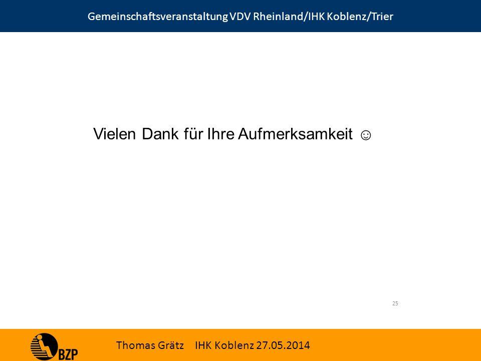 Gemeinschaftsveranstaltung VDV Rheinland/IHK Koblenz/Trier Thomas Grätz IHK Koblenz 27.05.2014 Vielen Dank für Ihre Aufmerksamkeit ☺ 25