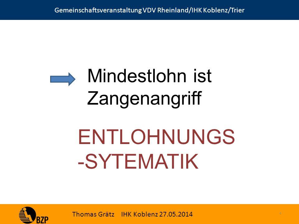 Gemeinschaftsveranstaltung VDV Rheinland/IHK Koblenz/Trier Thomas Grätz IHK Koblenz 27.05.2014 S.4 Mindestlohn ist Zangenangriff ENTLOHNUNGS -SYTEMATIK