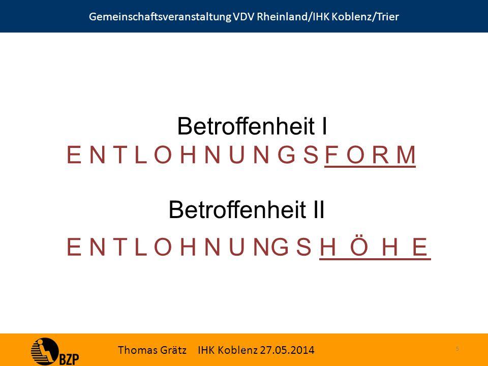 Gemeinschaftsveranstaltung VDV Rheinland/IHK Koblenz/Trier Thomas Grätz IHK Koblenz 27.05.2014 S.5 Betroffenheit I E N T L O H N U N G S F O R M Betroffenheit II E N T L O H N U NG S H Ö H E