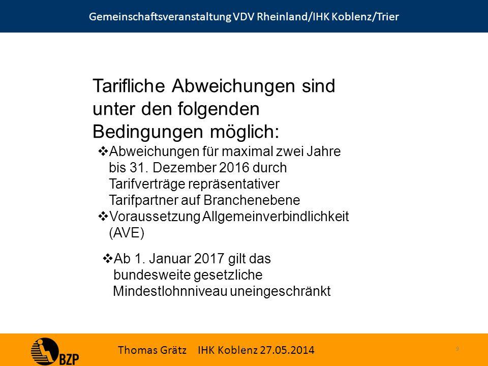 Gemeinschaftsveranstaltung VDV Rheinland/IHK Koblenz/Trier Thomas Grätz IHK Koblenz 27.05.2014 S.9 Tarifliche Abweichungen sind unter den folgenden Bedingungen möglich:  Abweichungen für maximal zwei Jahre bis 31.