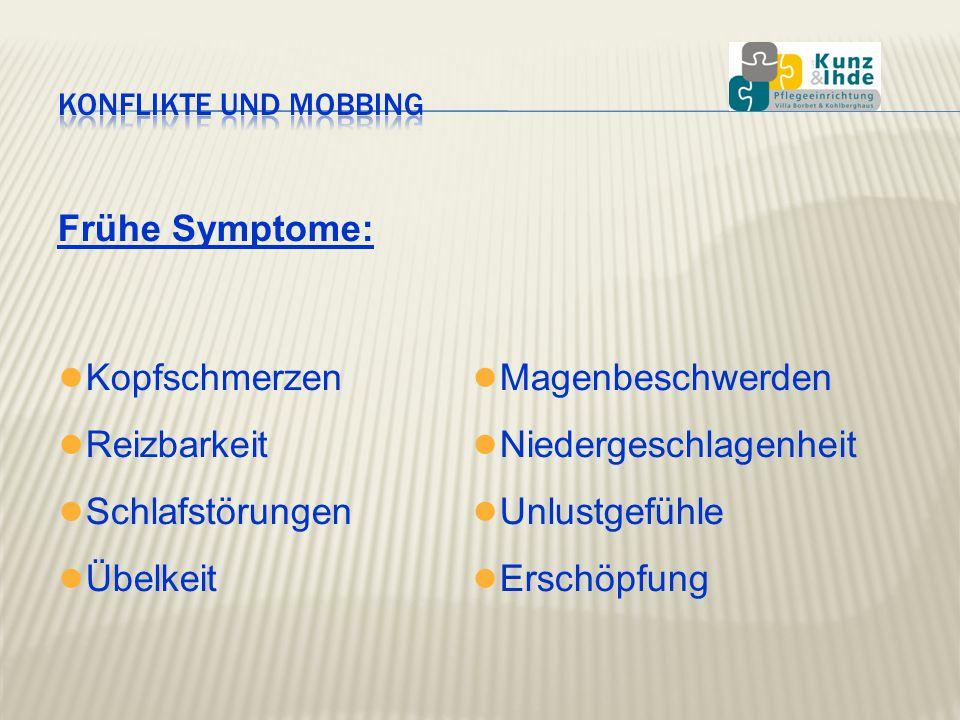 Frühe Symptome: ● Kopfschmerzen ● Reizbarkeit ● Schlafstörungen ● Übelkeit ● Magenbeschwerden ● Niedergeschlagenheit ● Unlustgefühle ● Erschöpfung