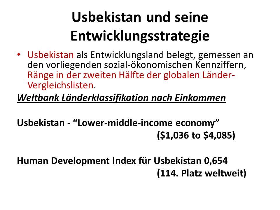 Usbekistan und seine Entwicklungsstrategie Usbekistan als Entwicklungsland belegt, gemessen an den vorliegenden sozial-ökonomischen Kennziffern, Ränge in der zweiten Hälfte der globalen Länder- Vergleichslisten.