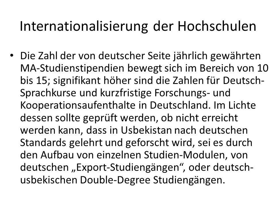 Internationalisierung der Hochschulen Die Zahl der von deutscher Seite jährlich gewährten MA-Studienstipendien bewegt sich im Bereich von 10 bis 15; signifikant höher sind die Zahlen für Deutsch- Sprachkurse und kurzfristige Forschungs- und Kooperationsaufenthalte in Deutschland.