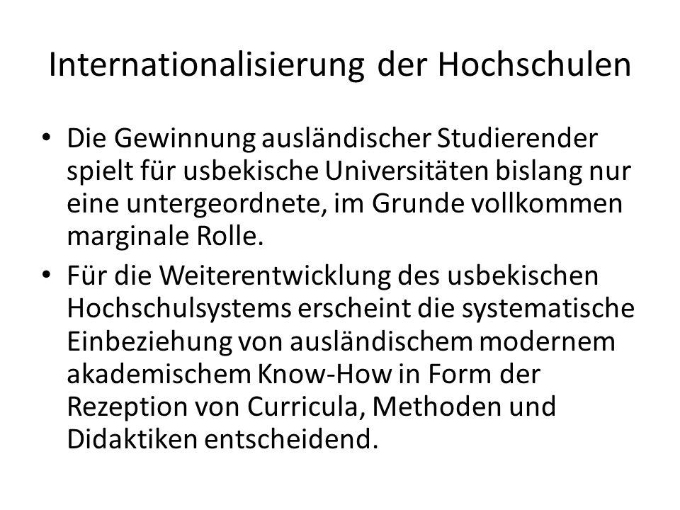Internationalisierung der Hochschulen Die Gewinnung ausländischer Studierender spielt für usbekische Universitäten bislang nur eine untergeordnete, im Grunde vollkommen marginale Rolle.