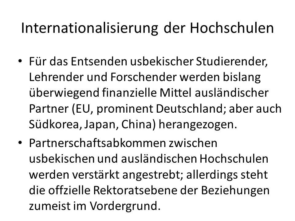 Internationalisierung der Hochschulen Für das Entsenden usbekischer Studierender, Lehrender und Forschender werden bislang überwiegend finanzielle Mittel ausländischer Partner (EU, prominent Deutschland; aber auch Südkorea, Japan, China) herangezogen.